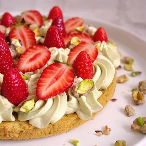 Фисташково-малиновый тарт
